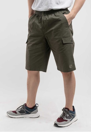 FOREST green Forest 100% Cotton Twill Woven Casual Shorts - 65747-45Dk Olive 9D21FAA879D43BGS_1
