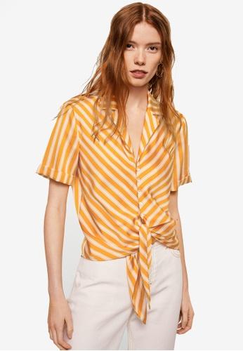 Mango yellow Knot Detail Flowy Blouse 795C8AA6BE99CBGS_1