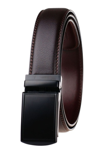 FANYU brown Leather Dress Belt With Automatic Buckle 05BDBACE23932DGS_1