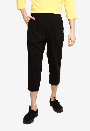 GLOBAL WORK black Woven Cropped Trousers 4593BAA2505C39GS_1