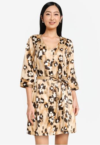 JACQUELINE DE YONG beige Alisa 3/4 Sleeves Shirt Dress 4FD5CAAE10CC6AGS_1