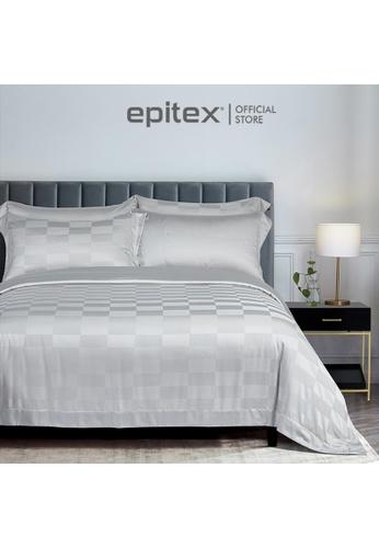 Epitex grey Cressent Dale 1500TC LA3302-5 Arctic Silver Valenfil Collection Filagen Collagen Fibre Jacquard Bedset (w quilt cover) 6EC39HL010D34DGS_1