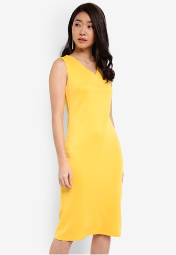ZALORA yellow Essential V Neck Bodycon Dress 9E474ZZCBD2E29GS_1