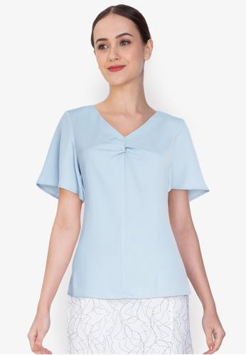 ZALORA WORK blue Flare Sleeves Top BCC7AAA378516CGS_1