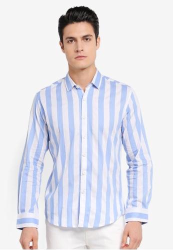 ZALORA white and blue and multi Bold Stripes Long Sleeve Shirt 29F57AAA496ADFGS_1