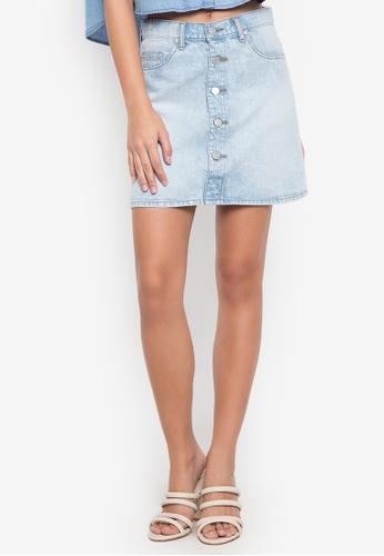 NEXT blue Buttonfly Denim Mini Skirt 35939AAB24E2BCGS_1
