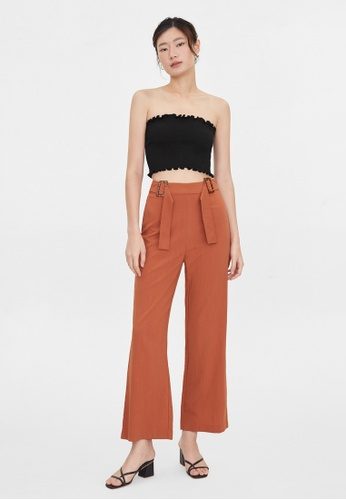 Pomelo brown Double Buckle Back Pockets Pants - Brown 61799AA5E4925AGS_1