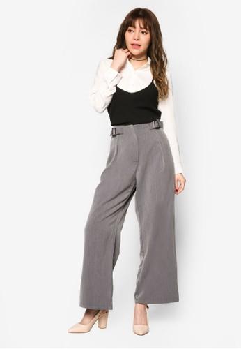 Broad 雙扣環寬管長褲, 服esprit hk飾, 長褲及內搭褲