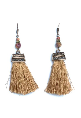 La Miina brown Bohemian Natural Freya Tassel Earrings 5958BACAE5A290GS_1