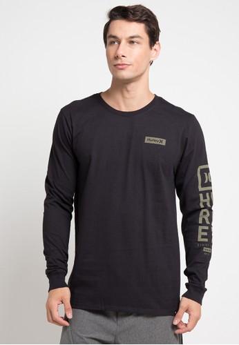 hurley black Cre Arm Long Sleeve T-Shirt 2B0F9AA013E54BGS_1