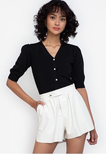 ZALORA BASICS black Bell-Sleeved Knit Cardigan AB27FAAD05A490GS_1