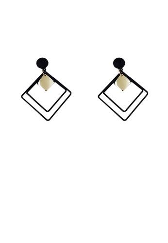 LUNER black Square Earrings 58C59AC9E3E853GS_1