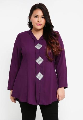 BYN purple Plus Size Kebaya Top FA70BAAED3EAA8GS_1