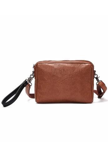 Lara brown Plain Zipper Hand Bag - Brown C31E2ACFBF8291GS_1