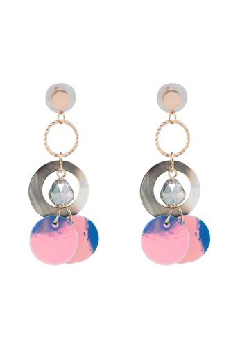 Dandelion purple Circle Shell Holographic Earrings 34235AC175A02FGS_1