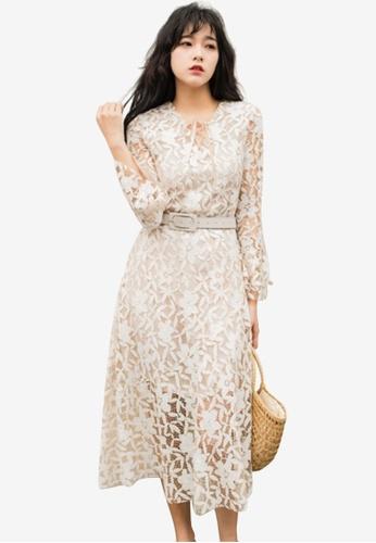 Sunnydaysweety beige Floral Pattern Lace One Piece Dress D9E0FAADCE5305GS_1
