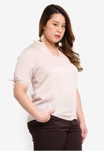 Ex'otico beige Plus Size Short Sleeve Mandarin Collar Blouse 4D958AA830FABCGS_1