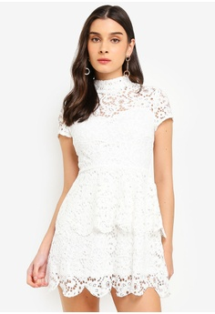 8405316699f MISSGUIDED white Petite Short Sleeve Lace High Neck Dress 13C63AAC19C6E2GS 1