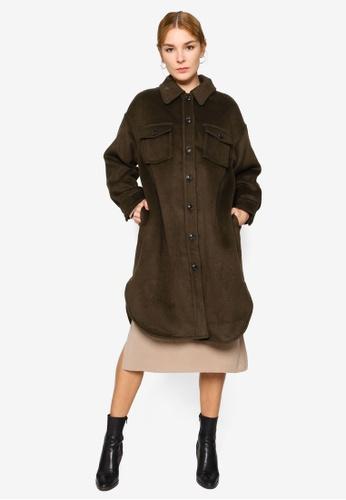 LOWRYS FARM green Casual Long Coat 16434AAC5F1700GS_1