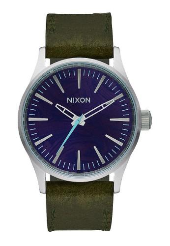 NIXON Sentry 38 Leather Purple / Olive Jam Tangan Unisex A3772302 - Leather - Green