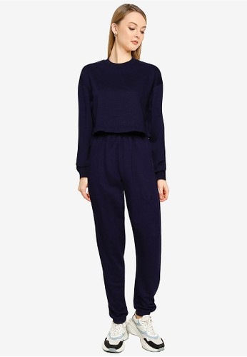 MISSGUIDED navy Tall Co Ord Crop Sweat Jogger Set 9672FAAD99546FGS_1