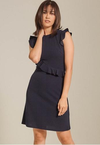 Dressing Paula navy Ruffled Crepe Dress 3EA7FAA131542FGS_1