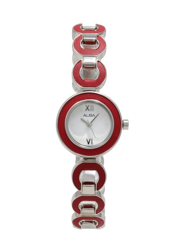 Alba red and silver ALBA Jam Tangan Wanita - Silver Red - Stainless Steel - AC3P07 6CD7FAC2573F87GS_1