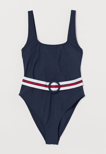 H&M blue and multi High Leg Belted Swimsuit 40321US53F57CEGS_1