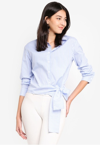 ZALORA blue and multi Long Sleeves Shirt With Tie Front EF330AA878F8CAGS_1