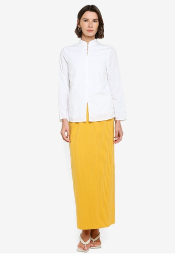 ZALIA BASICS 白色 and 黃色 Mandarin Collar Top With Skirt Set 7277AAA863D3C3GS_1