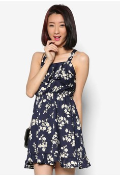 Floral Frill Cross Back Dress