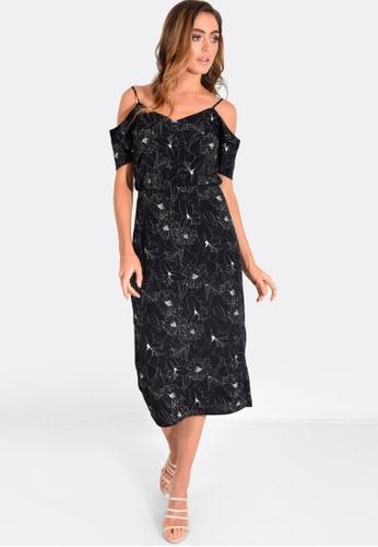 FORCAST black Tiana Cold Shoulder Dress 038B8AA62F45DCGS_1