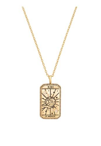 Wanderlust + Co gold Le Monde Gold Tarot Necklace 81D76ACA1A8E2CGS_1