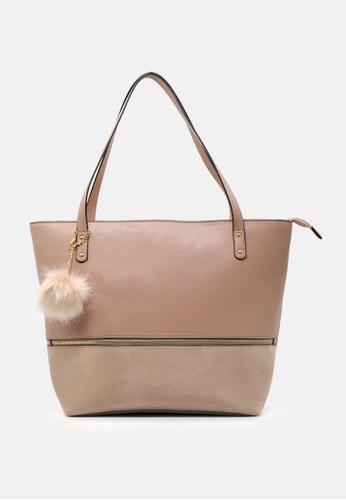 London Rag beige Tote bag with Fur pom pom B1484ACA149B7EGS_1