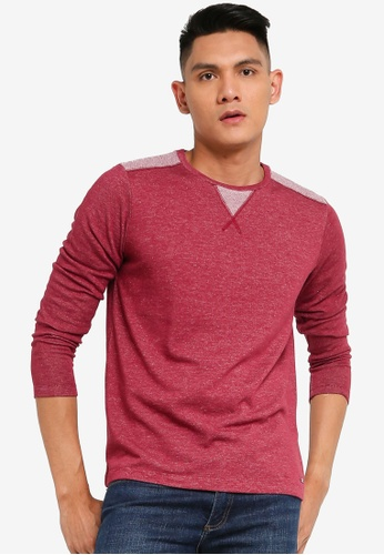 Sarto Avner red Sarto Avner Men's Long Sleeve Tee With Shoulder Detailing 6C32BAABFCEE68GS_1