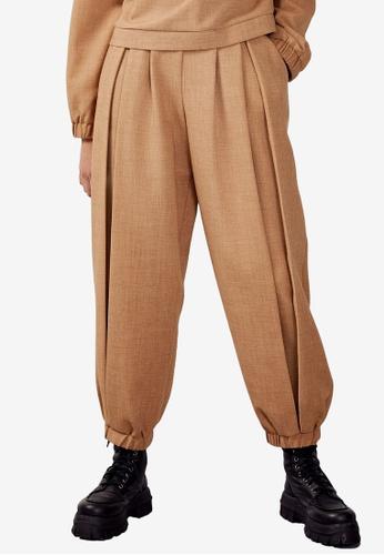 TOPSHOP brown Camel Luxe Wide Leg Pants B0683AA2B8055EGS_1