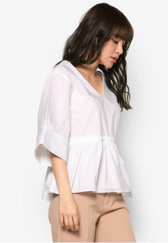 皺褶束腰V 領七分袖上衣, 服飾, esprit outlet hong kong上衣