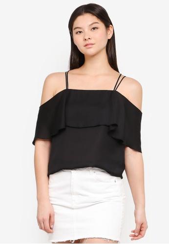Something Borrowed black Cold Shoulder Ruffle Top 01991AA4E894E0GS_1