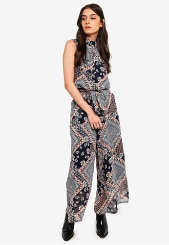 ZALORA multi and navy High Neck Wide Leg Jumpsuit 16912AA9A11895GS_1