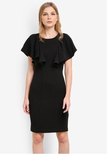 CLOSET black Frill Shoulder Shift Dress CL919AA0S6H2MY_1