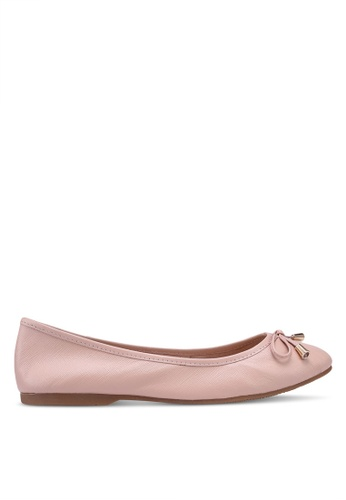 prettyFIT pink Bow Leather Ballerina Flats EB574SH3883077GS_1