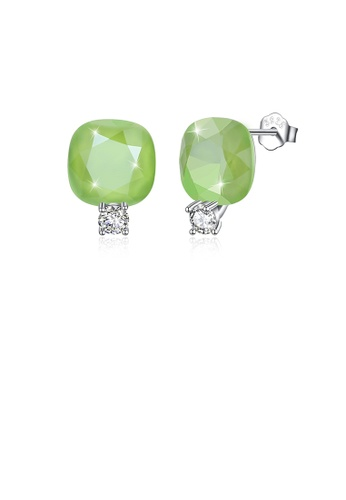 Glamorousky green 925 Sterling Silver Fashion Simple Geometric Square Stud Earrings with Green Austrian Element Crystal 05920ACE307E68GS_1