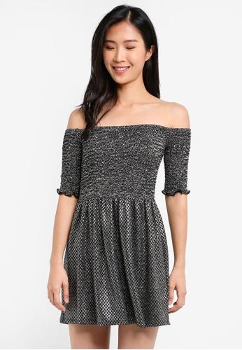 TOPSHOP black Shirred Bandeau Mini Dress TO412AA0SIWKMY_1