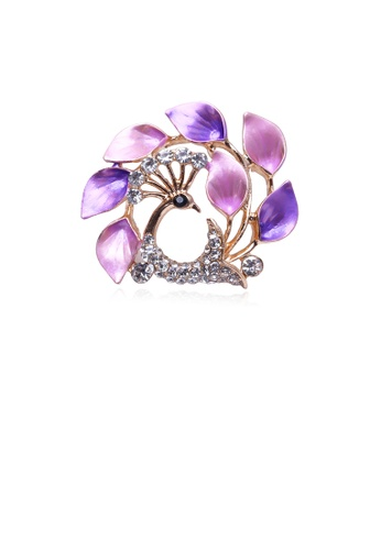 Glamorousky white Fashion and Elegant Plated Gold Purple Peacock Brooch with Cubic Zirconia AB03FACB395DDEGS_1