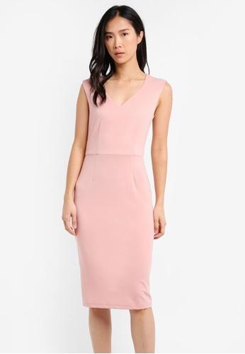 ZALORA pink Sweetheart Neckline Dress D728DAA3585639GS_1