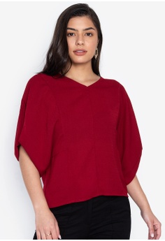 99f1fbfab7441 Maldita red Kara V-Neck Blouse With Flouncy Sleeves C39C5AAB710230GS 1