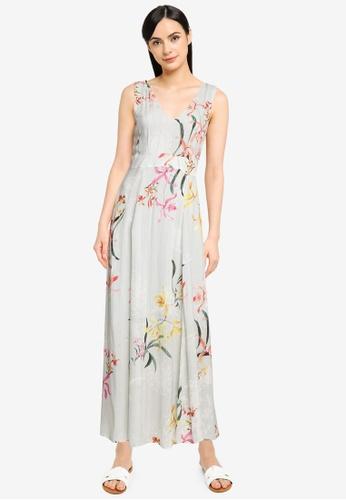 Desigual green Floral and Lurex Stripes Midi-dress 083EAAA1060539GS_1
