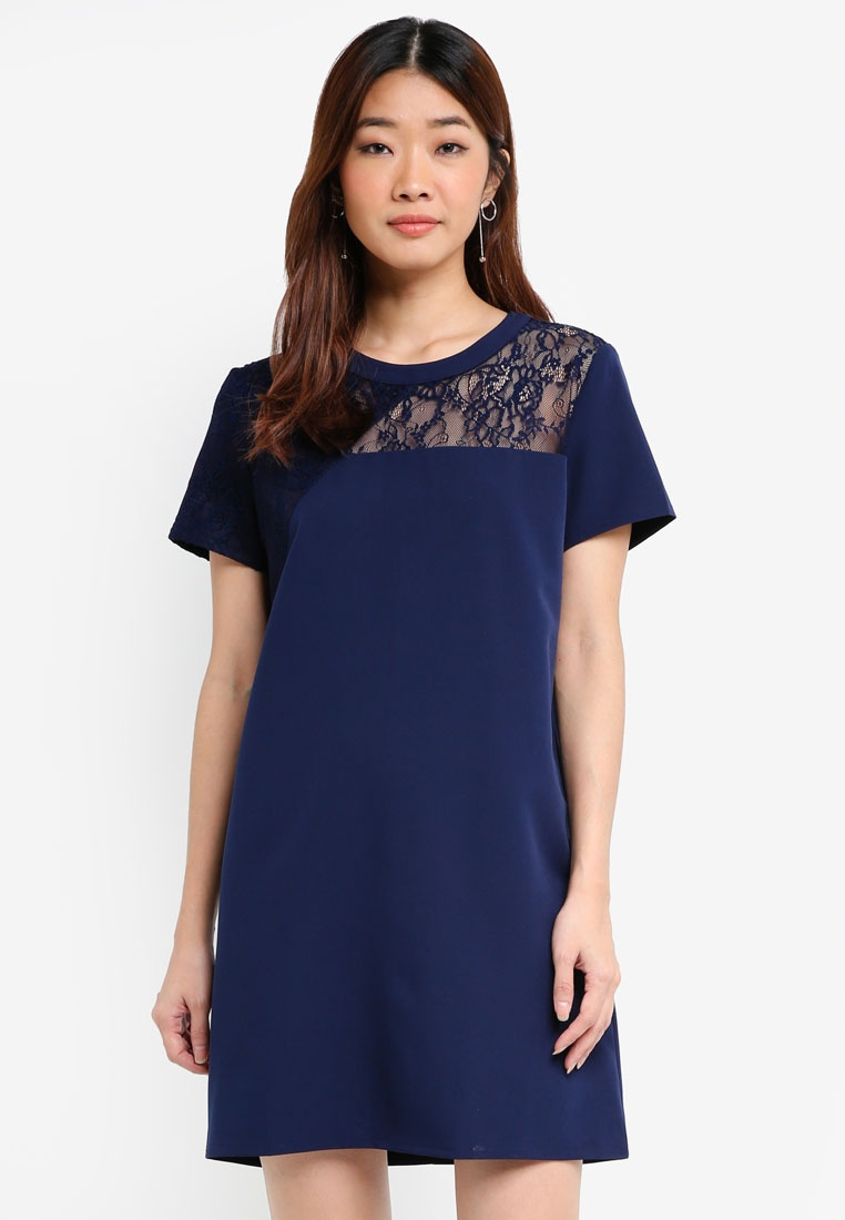Navy Borrowed Navy Something Shift Asymmetric Lace Dress WgwxqP7gB8