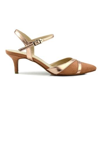 SHINE brown SHINE Metal Lines Emblished Ankle Strap Point Toe Heels 4ECF1SHAF68289GS_1