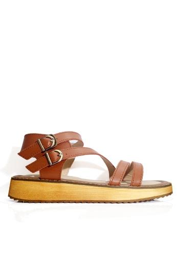 Twenty Eight Shoes 褐色 真皮搭帶厚底涼鞋 VS6668 80587SH9D4E326GS_1